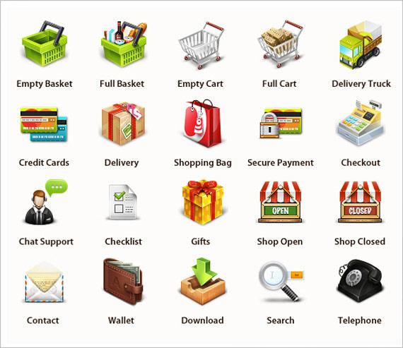 PSD icônes e-commerce