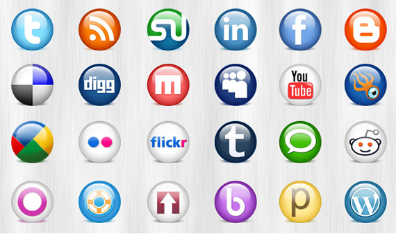 "PSD ""Glassball social media icons"""