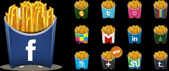 """PSD icônes sociales """"frites"""""""