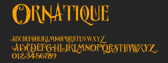"Fonts ""Ornatique"""